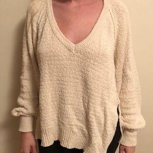 Free People Cream Oversized Sweater